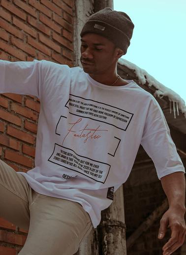 XHAN Beyaz Baskılı T-Shirt 1Kxe1-44595-01 Beyaz